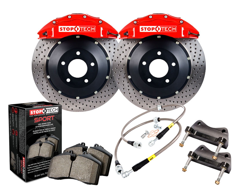 StopTech 83.893.6700.72 Big Brake Kit; Black Caliper; Slotted Two-Piece Rotor; Front Front