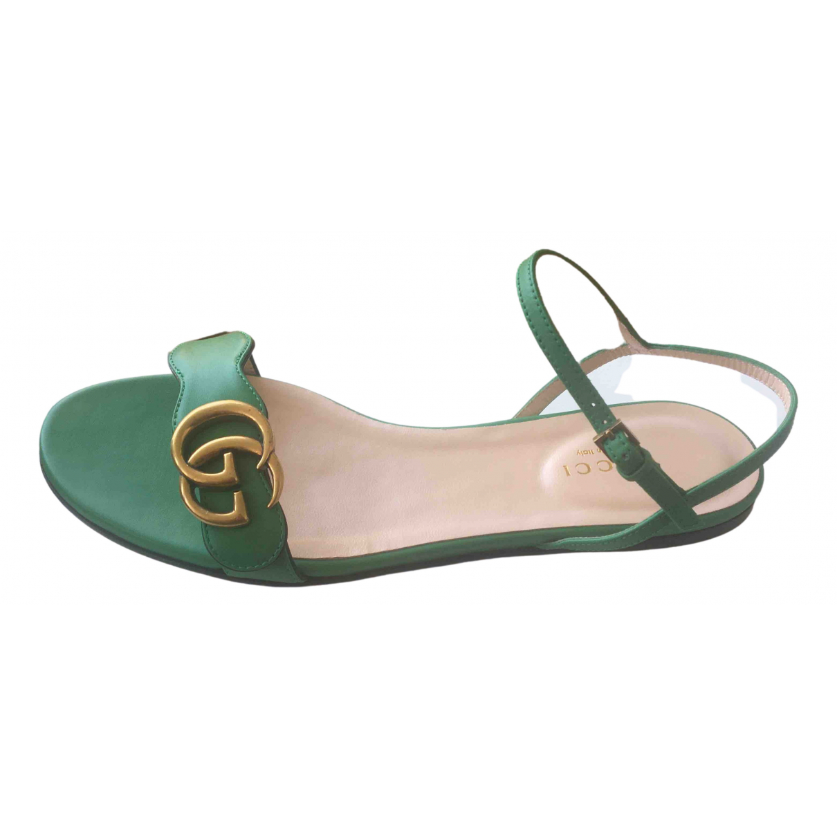Gucci Marmont Green Leather Sandals for Women 37 IT