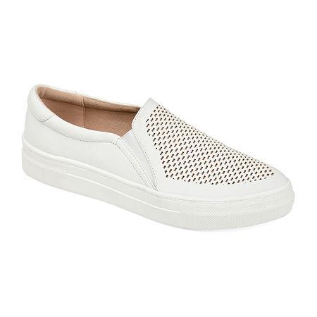 Journee Collection Womens Faybia Round Toe Slip-On Shoe, 7 Medium, White