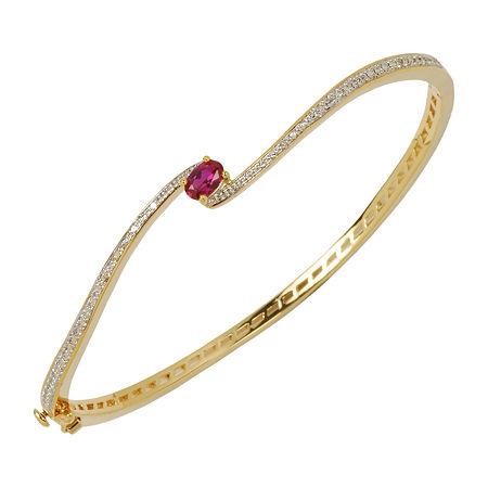 Sparkle Allure Solid Link Oval Bangle Bracelet, One Size , No Color Family