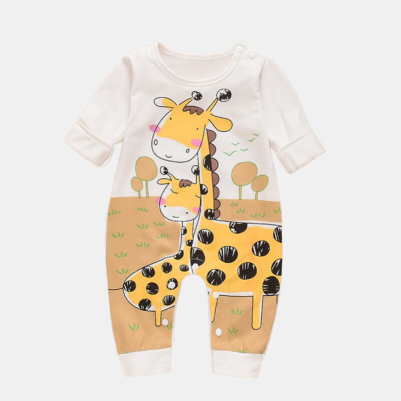 Baby Cartoon Giraffe Long-sleeved Casual Rompers For 0-18M