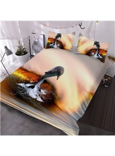 Dolphins Jumping Out of The Sea Under Sunset 3D Printed 3-Piece Polyester Comforter Sets