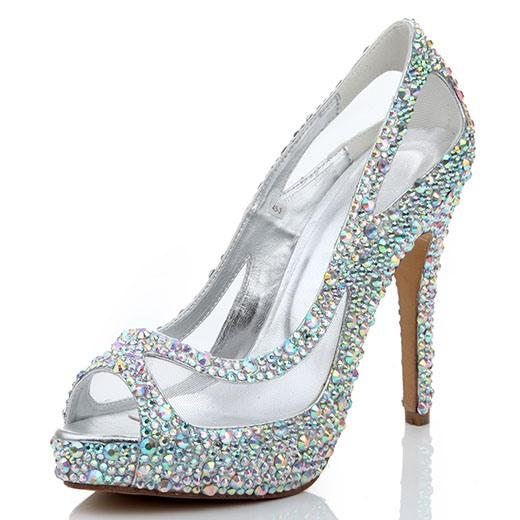 Ericdress Rhinestone Peep Toe Slip-On Stiletto Heel Wedding Shoes