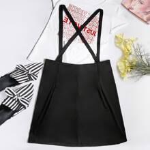 Plus Criss Cross Suspender Skirt