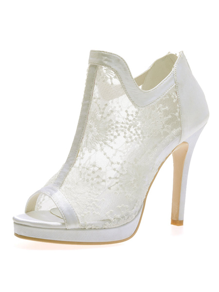 Milanoo Wedding Shoes White Lace Open Toe Stiletto Heel Booties Bridal Shoes