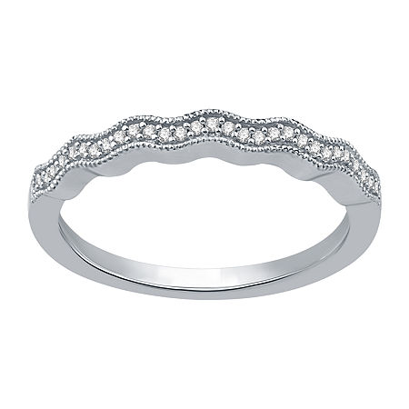 1/10 CT. T.W. Genuine White Diamond Sterling Silver Wedding Band, 7 , No Color Family