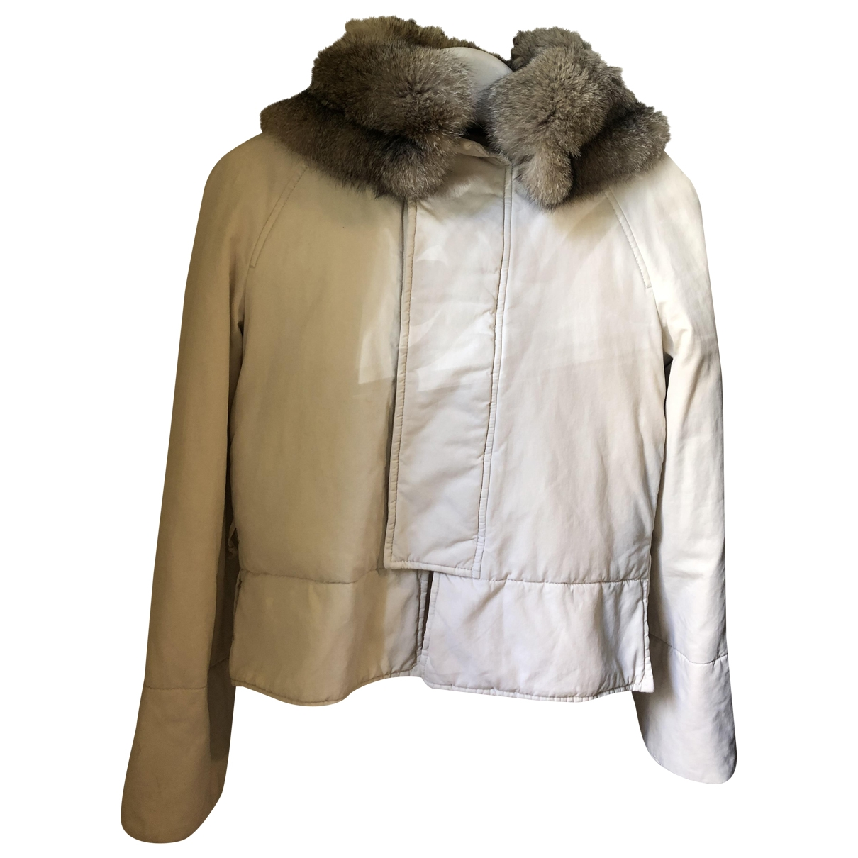 Gucci \N White Fur Leather jacket for Women 44 IT