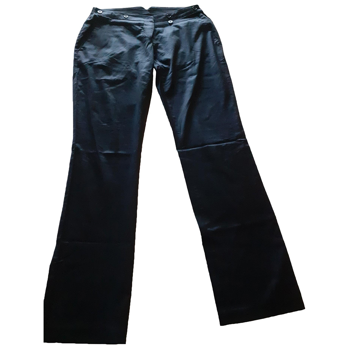 Daniele Alessandrini \N Black Cotton Trousers for Women 44 FR
