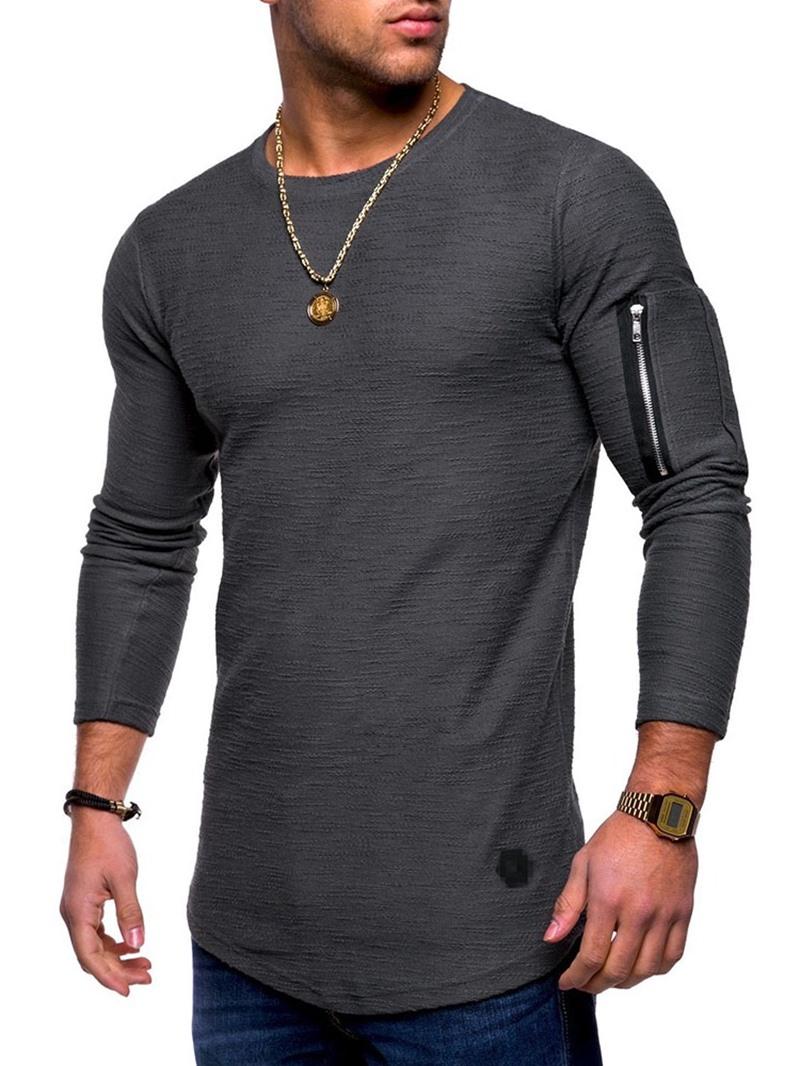 Ericdress Round Neck Zipper Casual Pullover Long Sleeve T-shirt