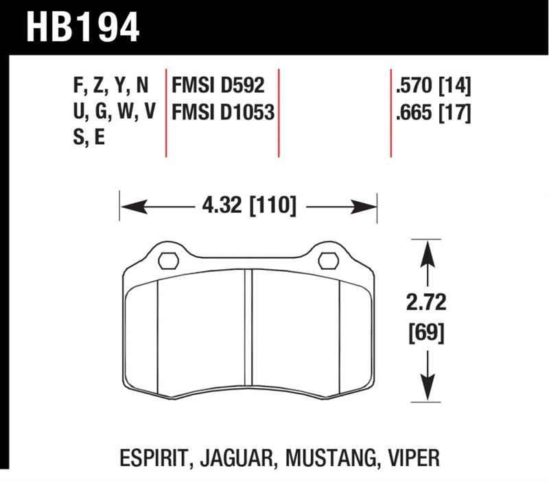 Hawk Performance HB194B.570 Disc Brake Pad