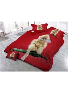 Monkey on Branch Wear-resistant Breathable High Quality 60s Cotton 4-Piece 3D Bedding Sets