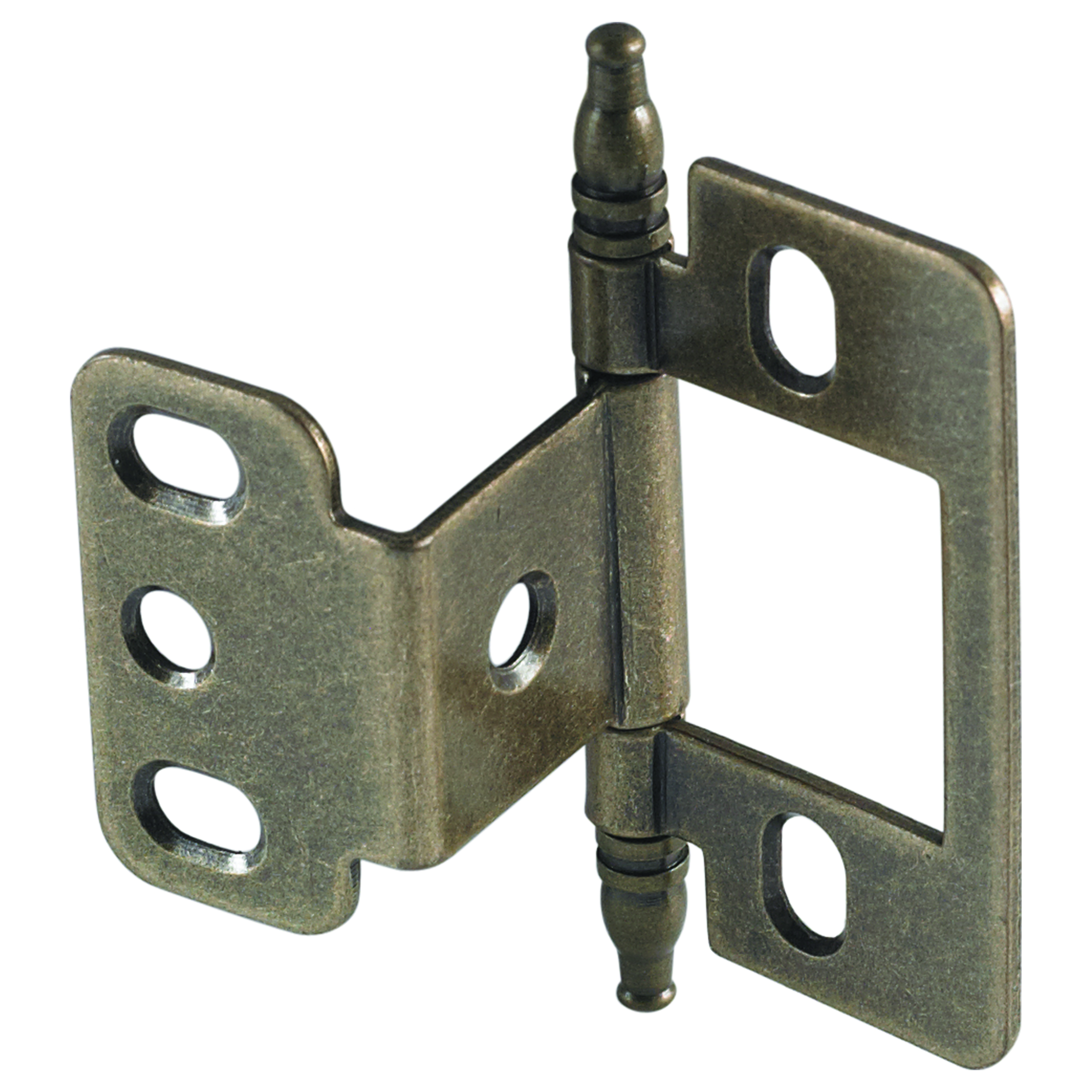 Partial Wrap Non-Mortised Decorative Hinge with Minaret Finial in Antique Brass Finish - Model# 351.86.120