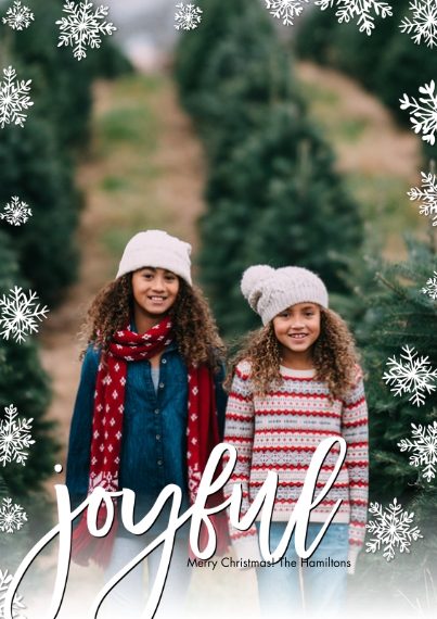Christmas Photo Cards 5x7 Cards, Premium Cardstock 120lb with Scalloped Corners, Card & Stationery -Christmas Joyful Snowflakes by Tumbalina