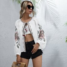 Tie Neck Floral Embroidery Blouse
