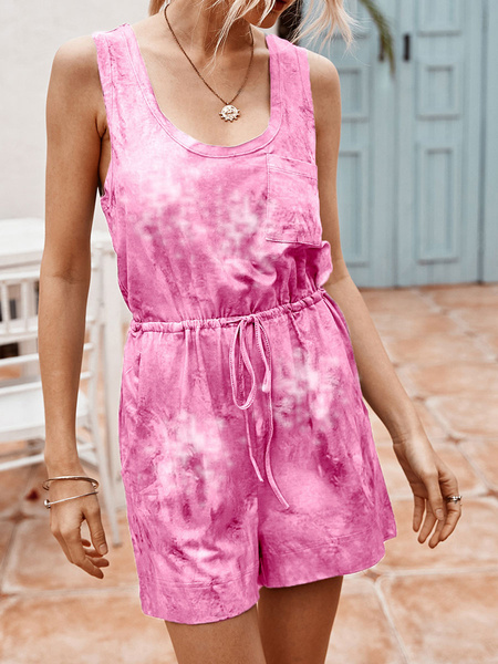 Milanoo Tie Dye Romper Shorts Sleeveless Drawstring Summer Playsuit