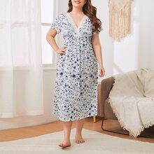 Plus Floral Contrast Lace Surplice Front Nightdress