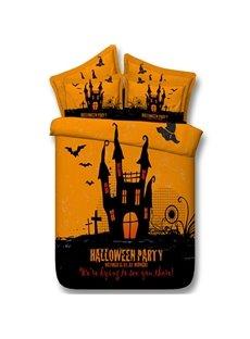 3D Halloween Castle and Bats Printed 5-Piece Comforter Sets