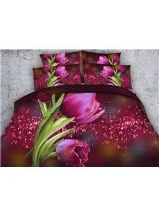 Attractive 3D Red Tulip Print 5-Piece Comforter Sets