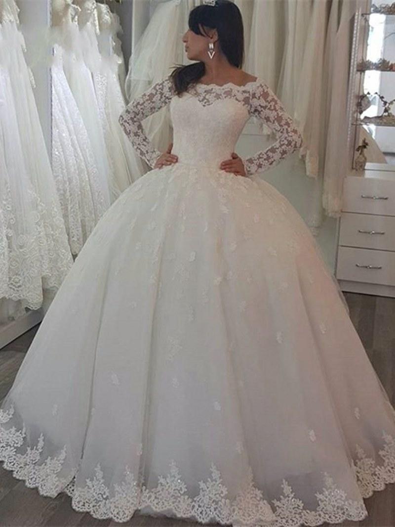 Ericdress Off the Shoulder Long Sleeves Ball Gown Wedding Dress