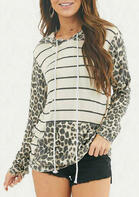 Leopard Striped Splicing Kangaroo Pocket Drawstring Hoodie