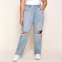 Plus Light Wash Ripped Baggy Jeans