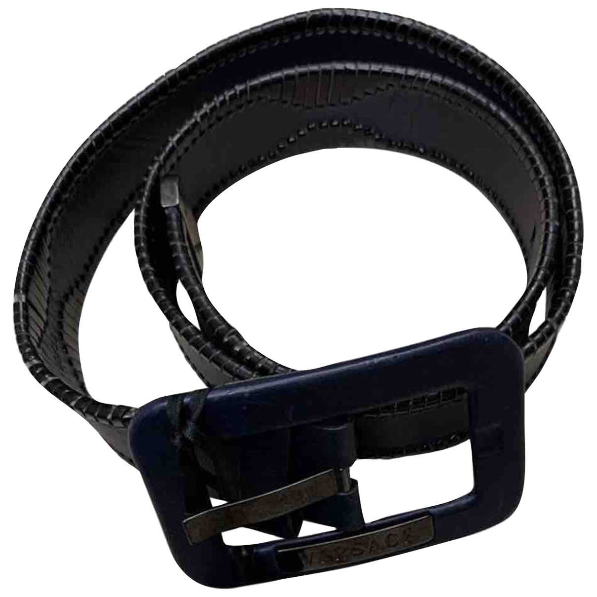 Versace \N Blue Leather belt for Women M International