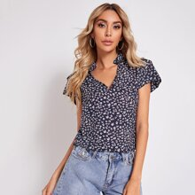 Notched Neck Layered Puff Sleeve Ditsy Floral Top