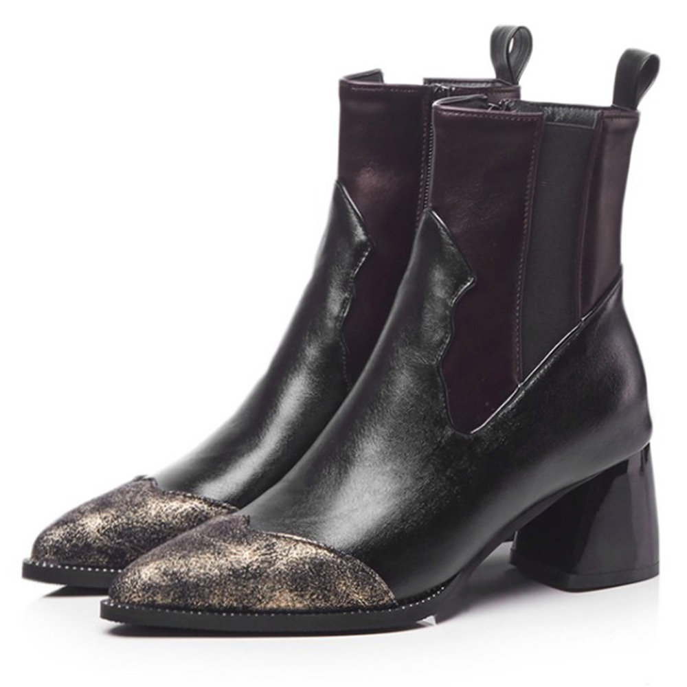 Vogue Splicing Leather Zipper Chelsea Boots