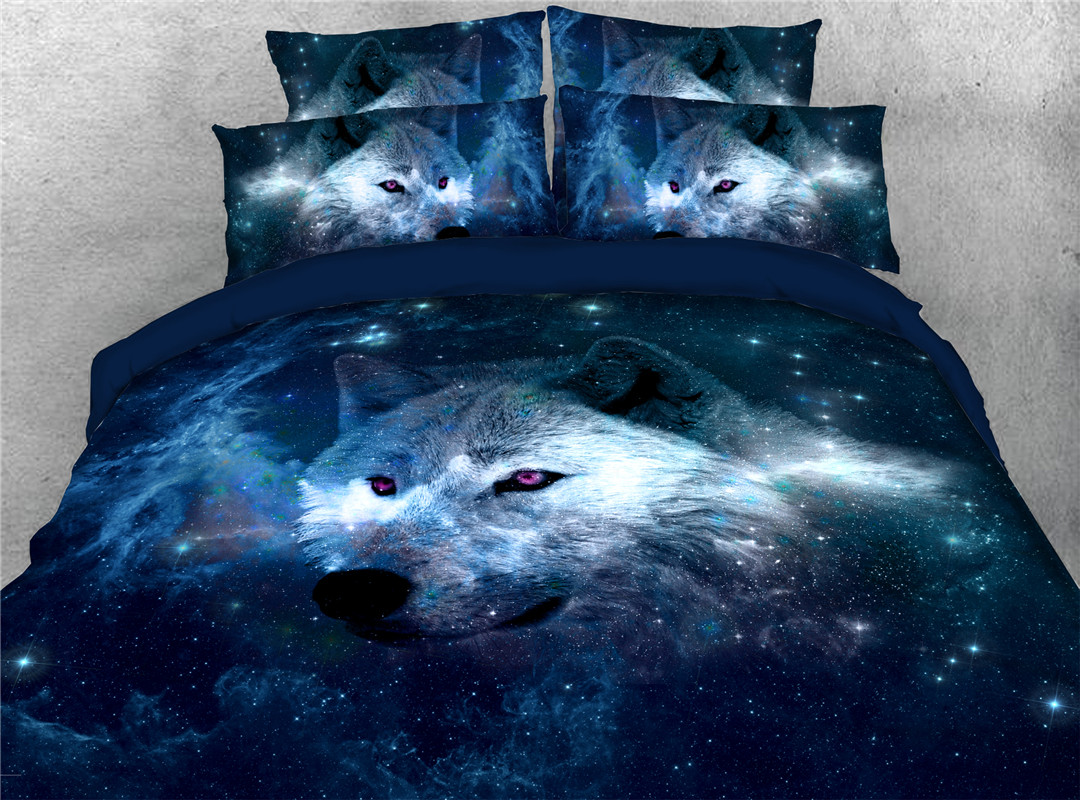 Wolf Four-Piece Set Hand Wash Duvet Cover Set Polyester Bedding Sets Wear-resistant Endurable