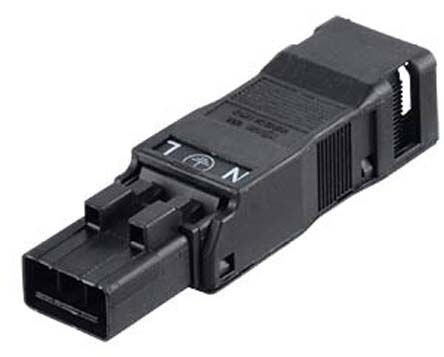 Wago 890 Series, Male 3 Pole 3 Way WINSTA MINI Plug, Cable Mount, with Strain Relief, Rated At 16A, 250 V, Black