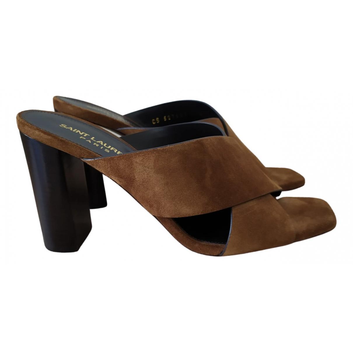 Saint Laurent Loulou Camel Suede Sandals for Women 36.5 EU
