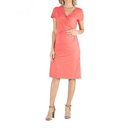 24/7 Comfort Apparel Faux Wrapover Dress with Cap Sleeves, Small , Orange