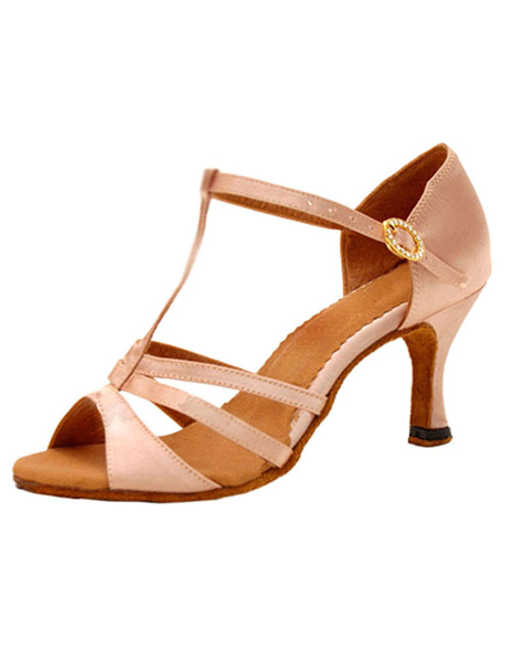 Milanoo T Strap BallRoom Shoes High Heel Cut Out Sandals Women's Satin Peep Toe Dance Shoes