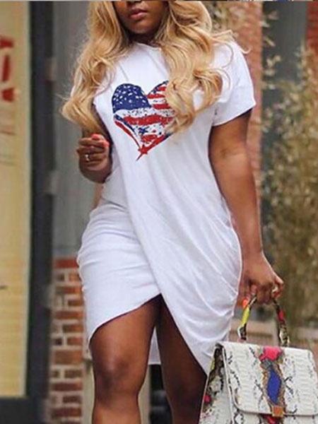Milanoo T Shirt Dress Plus Size Short Sleeve 4th Of July Heart Print Women Summer Dress