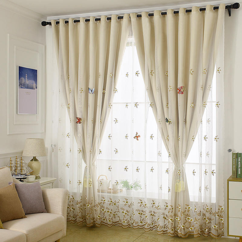 Embroidery Blackout and Decorative Cloth and Sheer Sewing Together Beige 2 Panels Curtain