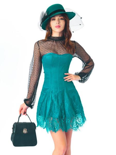 Milanoo Corset Dress 2-Piece Lace-up Classic Women Corset And Sheer Top