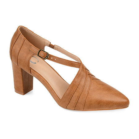 Journee Collection Womens Sandra Pointed Toe Block Heel Pumps, 9 Medium, Brown