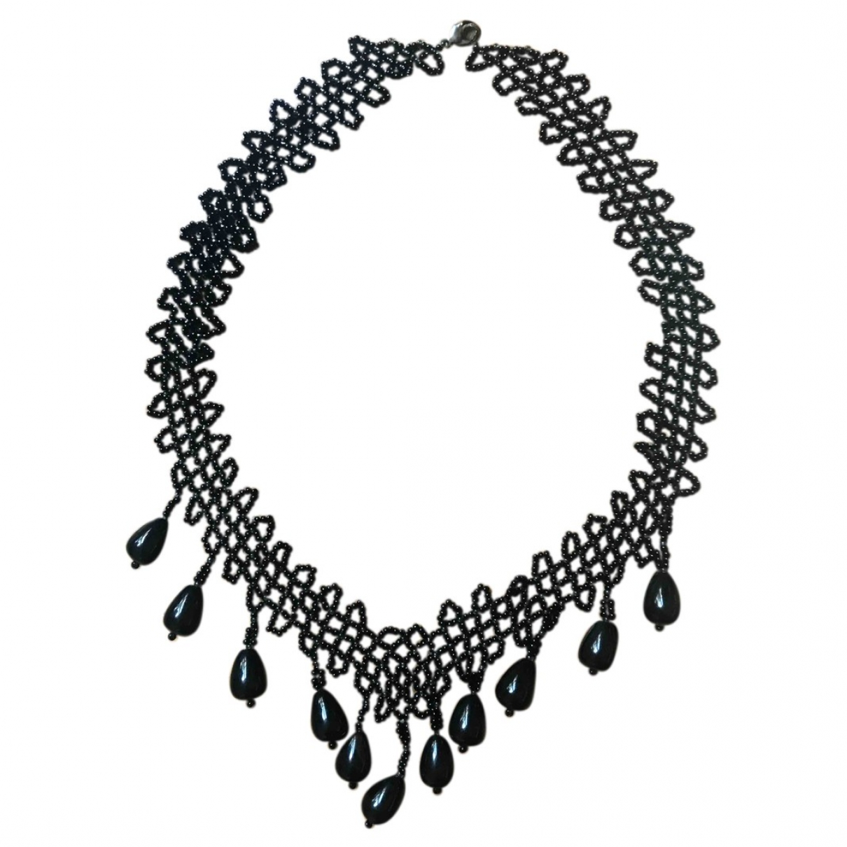 Non Signé / Unsigned \N Black Glass necklace for Women \N