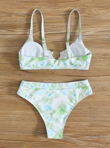 Tie Dye Ring Linked Bikini Swimsuit