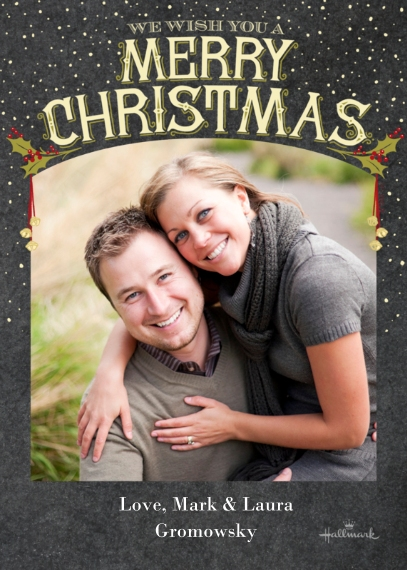 Christmas Photo Cards Flat Matte Photo Paper Cards with Envelopes, 5x7, Card & Stationery -Vintage Merry Christmas