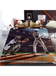 Two Baseball Players 3D Printed Polyester 1-Piece Warm Quilt