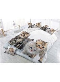 3D Cats 4Pcs Warm Duvet Cover Set with 2 Pillow Shams Zipper White Bedding Sets Colorfast Wear-resistant Endurable