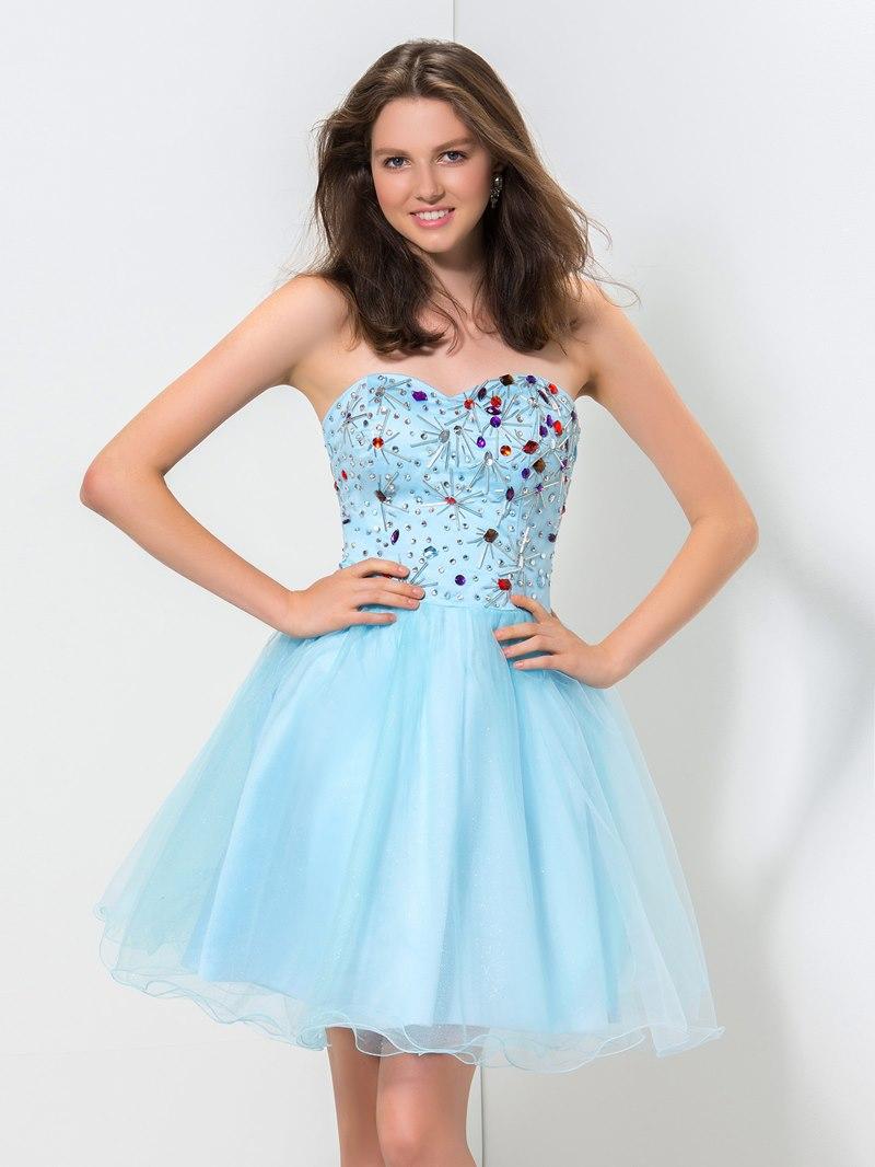 Ericdress Sweetheart Beaded Ruffles A-Line Homecoming Dress