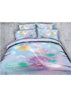 Watercolor Lotus and Dragonfly Printed Cotton 4-Piece 3D Bedding Sets/Duvet Covers