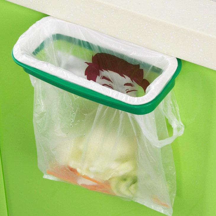 Hanging kitchen Door Back Cabinet Garbage Bag Bracket With Anti-Drop Buckle Garbage Bag Storage Rack