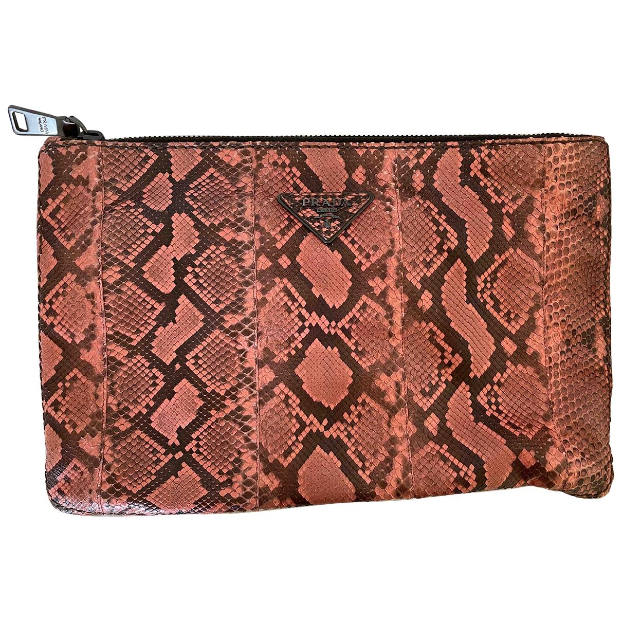 Prada \N Pink Python Clutch bag for Women \N