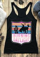 Cactus Burning Daylight O-Neck Casual Tank - Black