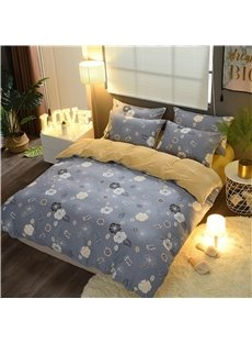 Flower Printing Blue and Camel Double Fabric 4-Piece Bedding Sets/Duvet Cover