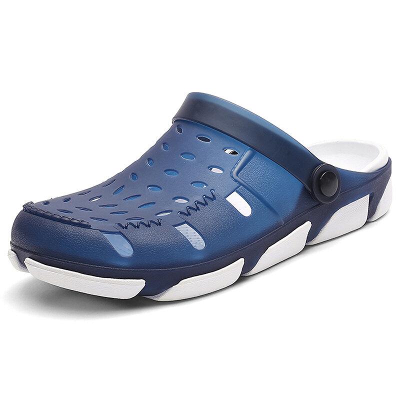 Men Hollow Out Light Weight Adjustabler Heel Strap Casual Beach Sandals