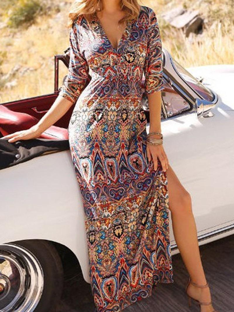 Ericdress V-Neck Split Three-Quarter Sleeve Bohemian Regular Women's Dress